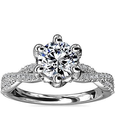 Anillo de compromiso de diamante con seis puntas y símbolo del infinito entrelazados en oro blanco de 14 k