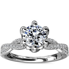 Six-Claw Infinity Twist Diamond Engagement Ring in Platinum