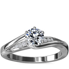 Six-Prong Pave Twist Engagement Ring with Diamond Accents in 18k White Gold