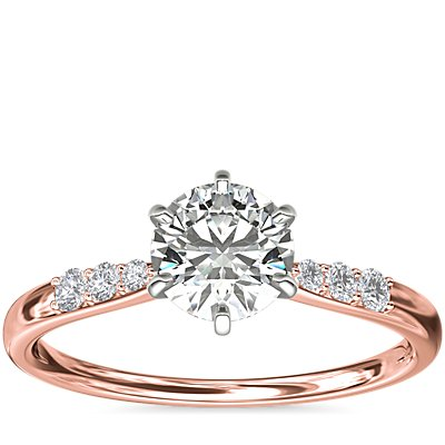 Six-Claw Petite Diamond Engagement Ring in 14k Rose Gold (1/10 ct. tw.)