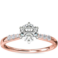 Six-Prong Petite Diamond Engagement Ring in 14k Rose Gold (1/10 ct. tw.)