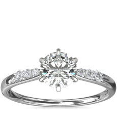 Six-Claw Petite Diamond Engagement Ring in 14k White Gold (1/10 ct. tw.)