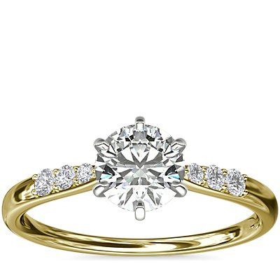Six-Prong Petite Diamond Engagement Ring in 14k Yellow Gold (1/10 ct. tw.)