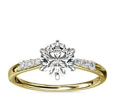 14k 金六爪小巧密钉钻石订婚戒指(1/10 克拉总重量)