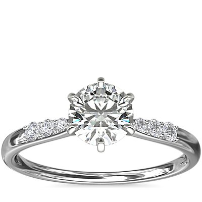 NEW Six-Claw Petite Diamond Engagement Ring in Platinum (1/10 ct. tw.)