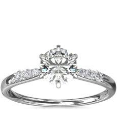Six-Claw Petite Diamond Engagement Ring in Platinum (1/10 ct. tw.)