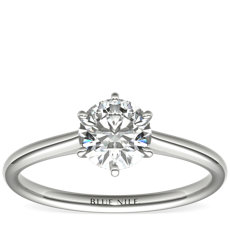 Petite Nouveau Six-Claw Solitaire Engagement Ring in 14k White Gold