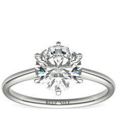 Petite Nouveau Six Claw Solitaire Engagement Ring in 14k White Gold