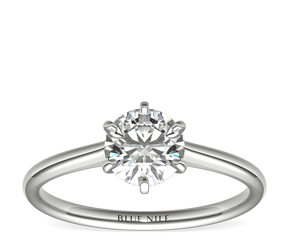 1 Carat Ready-to-Ship Petite Nouveau Six-Prong Solitaire Engagement Ring in Platinum