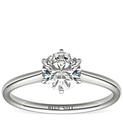 铂金小巧簇新六爪单石订婚戒指