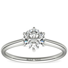 鉑金小巧簇新六爪單石訂婚戒指