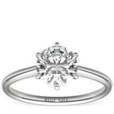 Petite Nouveau Six-Prong Solitaire Engagement Ring in Platinum