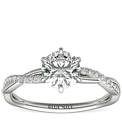 Six-Claw Petite Twist Diamond Engagement Ring in 14k White Gold (1/10 ct. tw.)