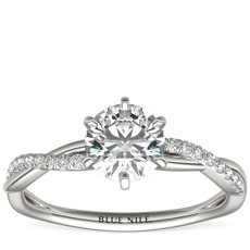 Six-Prong Petite Twist Diamond Engagement Ring in 14k White Gold (1/10 ct. tw.)