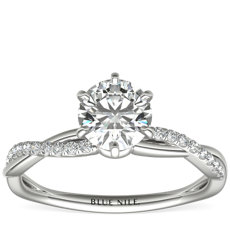 Six-Claw Petite Twist Diamond Engagement Ring in Platinum (1/10 ct. tw.)