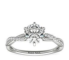 Six-Prong Petite Twist Diamond Engagement Ring in Platinum (1/10 ct. tw.)
