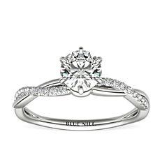 Six-Claw Petite Twist Diamond Engagement Ring in Platinum (1/10 ct. tw.)