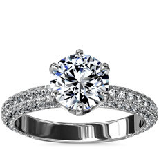 Six-Prong Rolled Pave Diamond Engagement Ring in Platinum