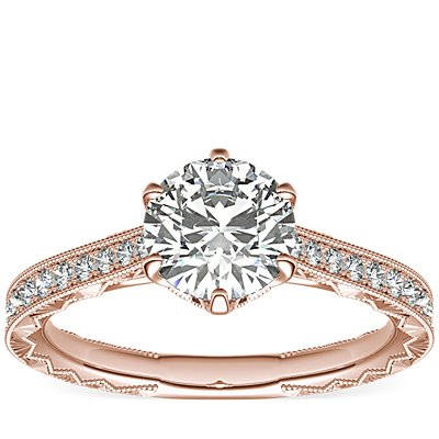 Six-Claw Hand-Engraved Diamond Engagement Ring in 14k Rose Gold  (1/5 ct. tw.)