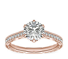 Six-Prong Hand-Engraved Diamond Engagement Ring in 14k Rose Gold  (1/5 ct. tw.)