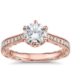 Six-Claw  Hand-Engraved Diamond Engagement Ring in 14k Rose Gold