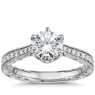 Six-Prong Hand-Engraved Diamond Engagement Ring in 14k White Gold (1/5 ct. tw.)