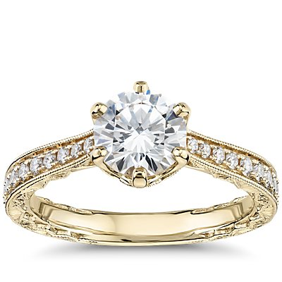 Six-Claw Hand-Engraved Diamond Engagement Ring in 14k Yellow Gold