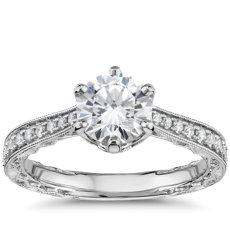Six-Claw Hand-Engraved Diamond Engagement Ring in 14k White Gold (1/5 ct. tw.)