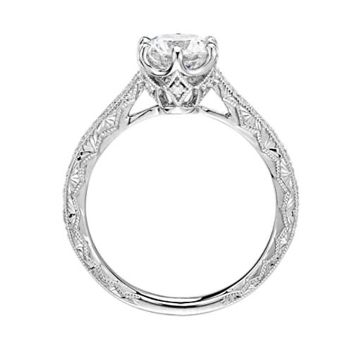 Six-Prong Hand-Engraved Diamond Engagement Ring