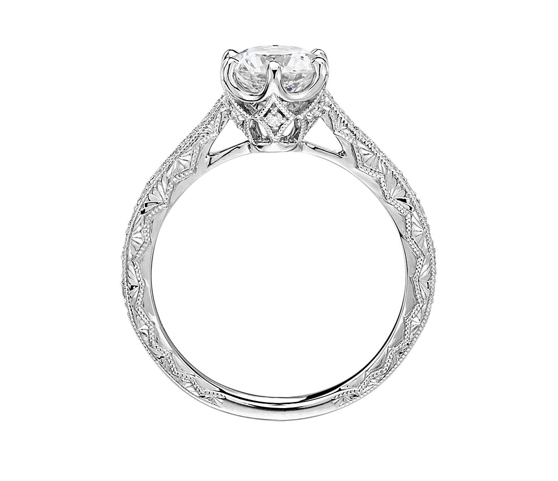 Six Prong Hand Engraved Diamond Engagement Ring In 14k