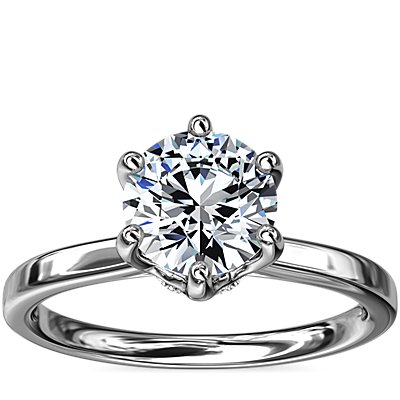 NEW Six-Claw Solitaire Plus Hidden Halo Diamond Engagement Ring in 14k White Gold
