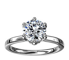 Six-Claw Solitaire Plus Hidden Halo Diamond Engagement Ring in 14k White Gold