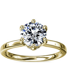 Six-Claw Solitaire Plus Hidden Halo Diamond Engagement Ring in 14K Yellow Gold