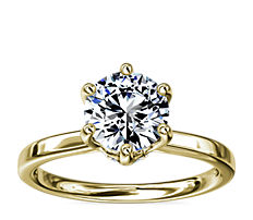 Six-Prong Solitaire Plus Hidden Halo Diamond Engagement Ring in 14K Yellow Gold