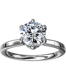 Six-Claw Solitaire Plus Hidden Halo Diamond Engagement Ring in Platinum