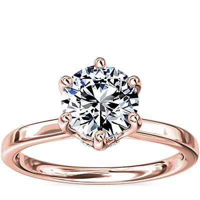 NEW Six-Claw Solitaire Plus Hidden Halo Diamond Engagement Ring in 14K Rose Gold