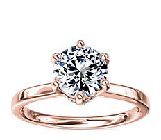Six-Prong Solitaire Plus Hidden Halo Diamond Engagement Ring in 14K Rose Gold