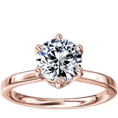 Six-Claw Solitaire Plus Hidden Halo Diamond Engagement Ring in 14K Rose Gold
