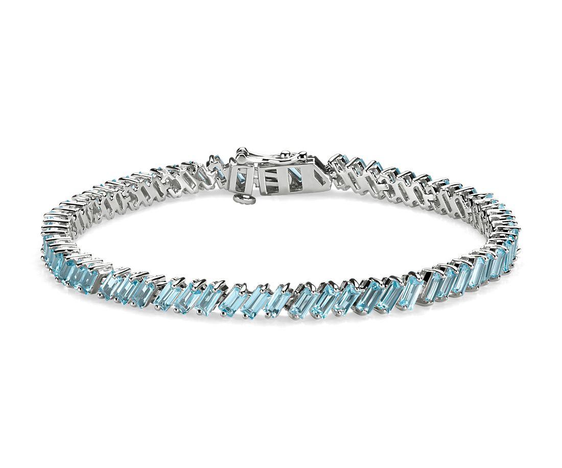 925 純銀長方形天藍色托帕石手鍊