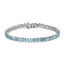 新款 925 纯银天蓝色托帕石长方形手链
