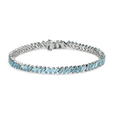 Sky Blue Topaz Baguette Bracelet in Sterling Silver