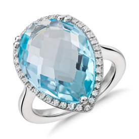 NEW Sky Blue Topaz Elegant Halo Cocktail Ring in Sterling Silver (18x13mm)