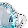 Sky Blue Topaz Elegant Halo Cocktail Ring in Sterling Silver (18x13mm)