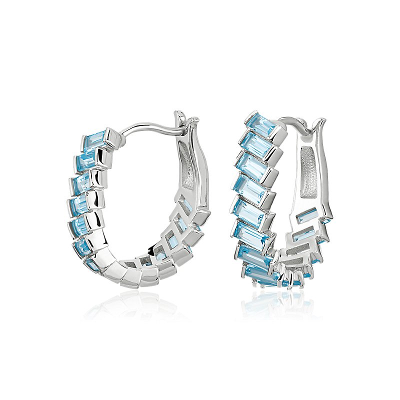 Baguette Sky Blue Topaz Hoop Earrings in Sterling Silver