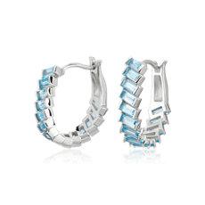 NEW Baguette Sky Blue Topaz Hoop Earrings in Sterling Silver