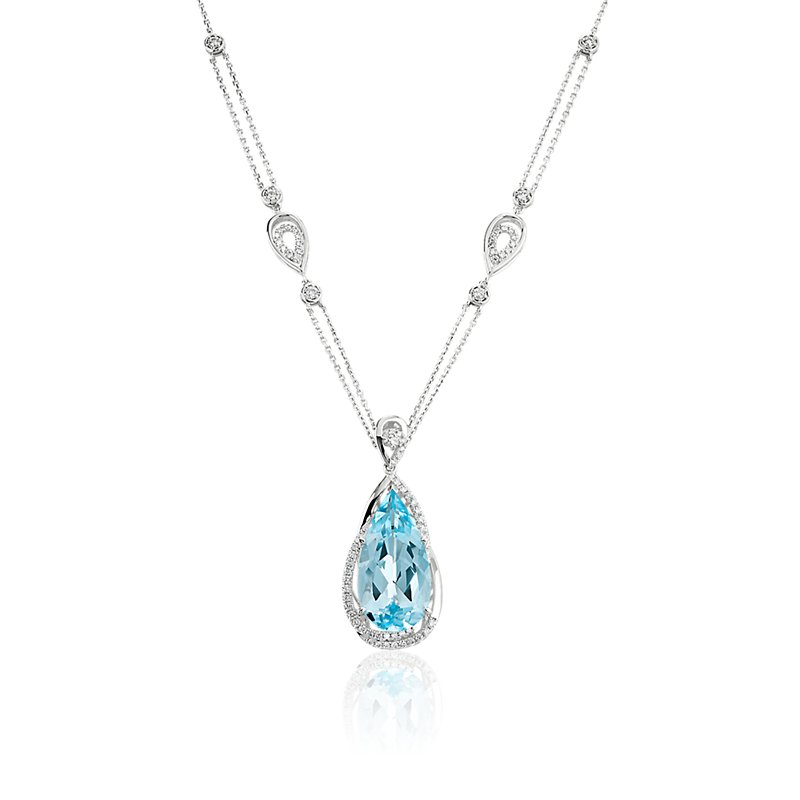Sky Blue Topaz Pendant with Diamond Accents in 14k White Gold
