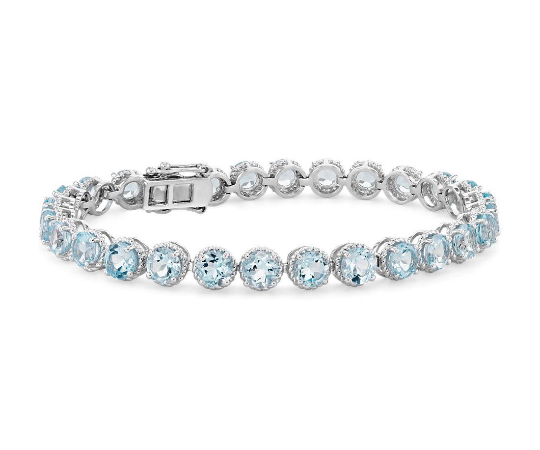 Sky Blue Topaz Round Rope Bracelet in Sterling Silver