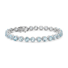Sky Blue Topaz Round Rope Bracelet in Sterling Silver (5mm)