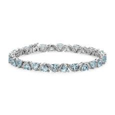 NEW Sky Blue Topaz Trillion Criss-Cross Bracelet in Sterling Silver