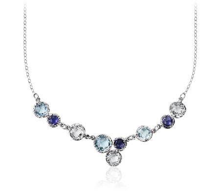 Sky Blue Topaz, White Topaz, and Iolite Bib Necklace in 14k White Gold (6mm)